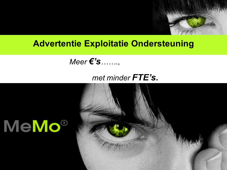 Advertentie Exploitatie Ondersteuning Meer €'s ……., met minder FTE's.