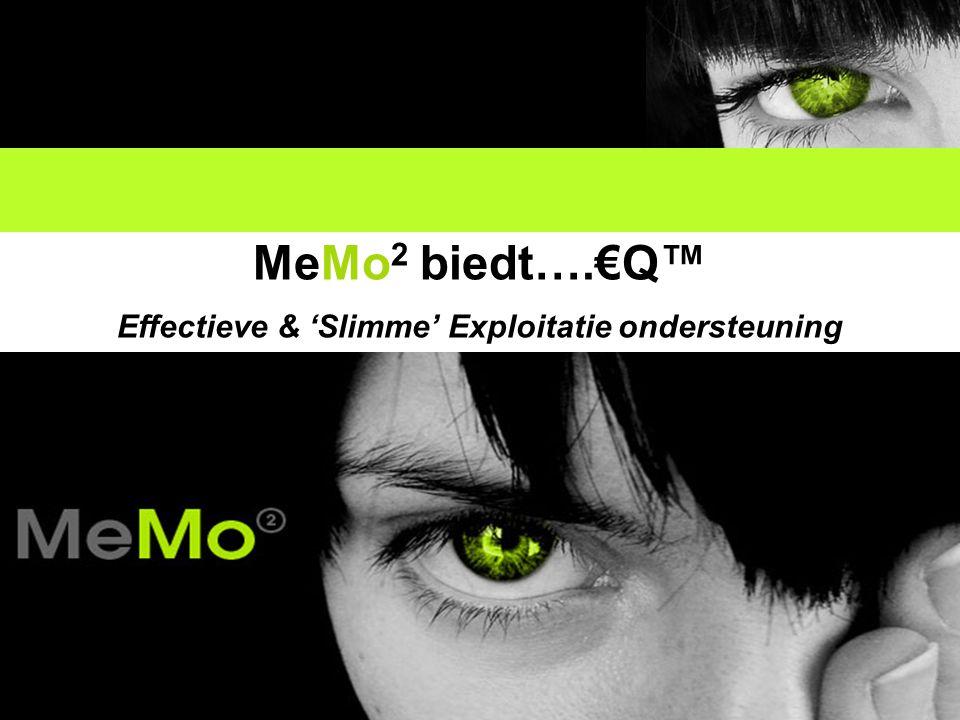MeMo 2 biedt….€Q™ Effectieve & 'Slimme' Exploitatie ondersteuning