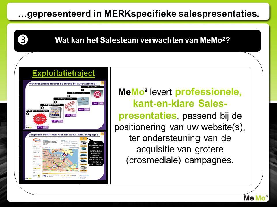 …gepresenteerd in MERKspecifieke salespresentaties. Wat kan het Salesteam verwachten van MeMo 2 ?  Exploitatietraject Mediagedrag Productgedrag Merkv