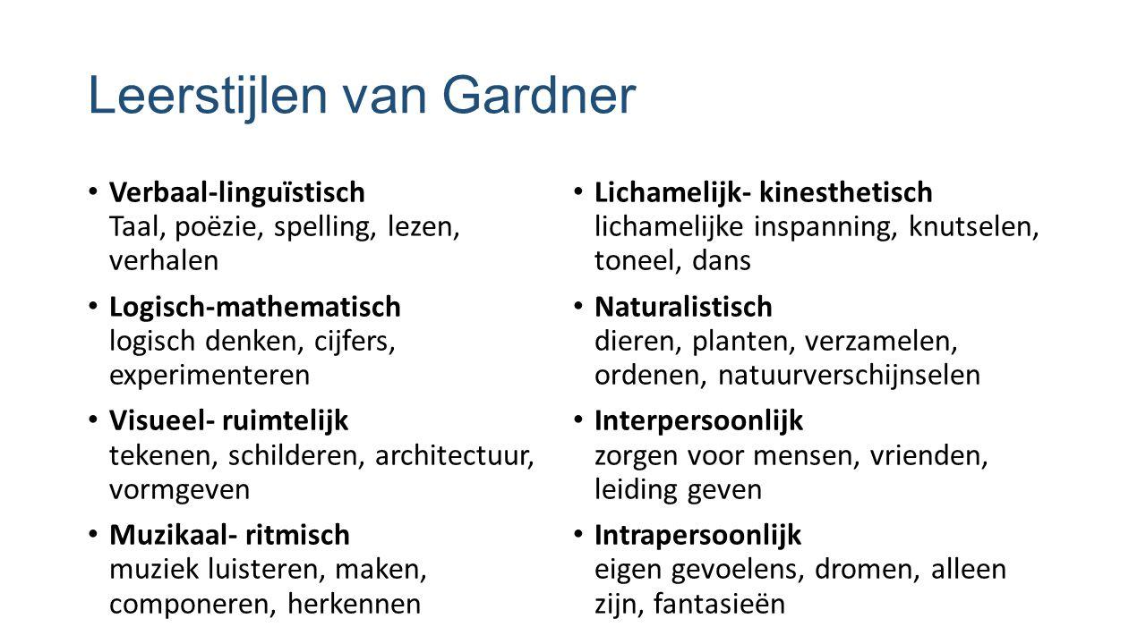 Leerstijlen van Gardner Verbaal-linguïstisch Taal, poëzie, spelling, lezen, verhalen Logisch-mathematisch logisch denken, cijfers, experimenteren Visu