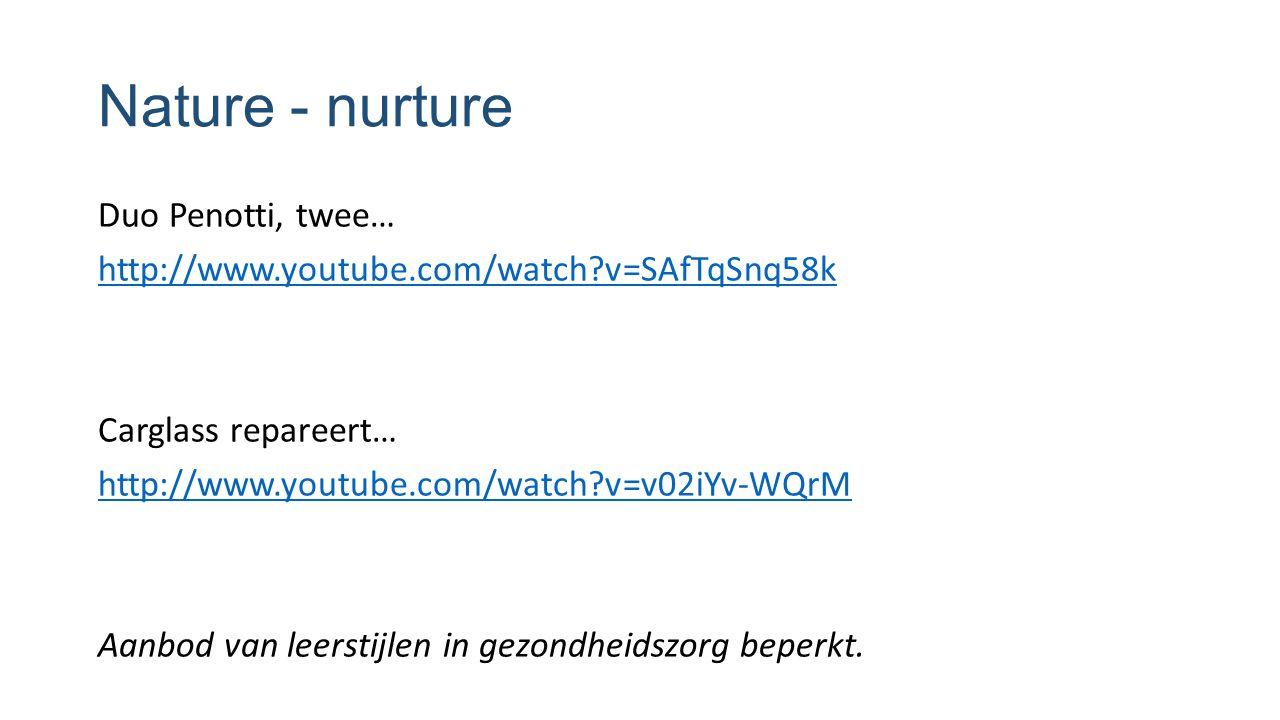 Nature - nurture Duo Penotti, twee… http://www.youtube.com/watch?v=SAfTqSnq58k Carglass repareert… http://www.youtube.com/watch?v=v02iYv-WQrM Aanbod v