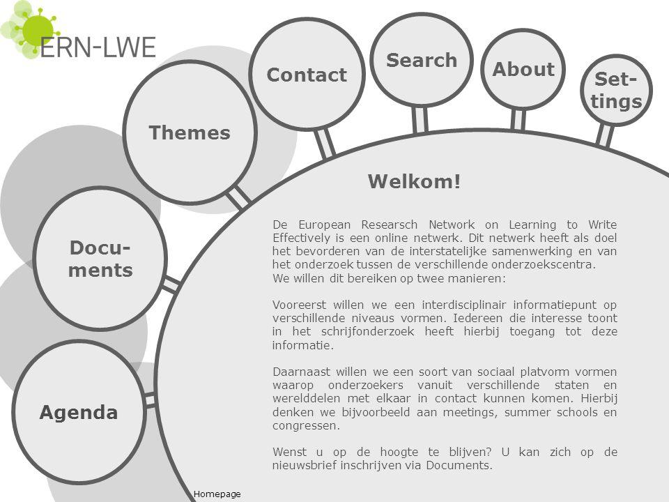 Agenda Docu- ments Themes Search Contact De European Researsch Network on Learning to Write Effectively is een online netwerk.