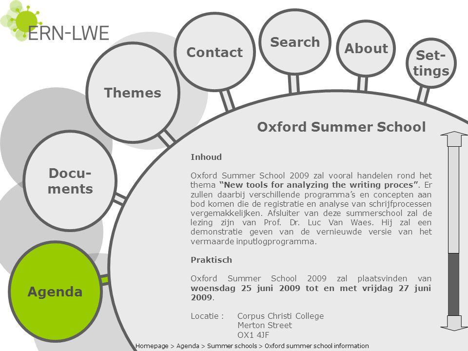 Agenda Docu- ments Themes Search Contact About Set- tings Oxford Summer School Inschrijven Wegens praktische redenen is de inschrijving beperkt tot 40 deelnemers.