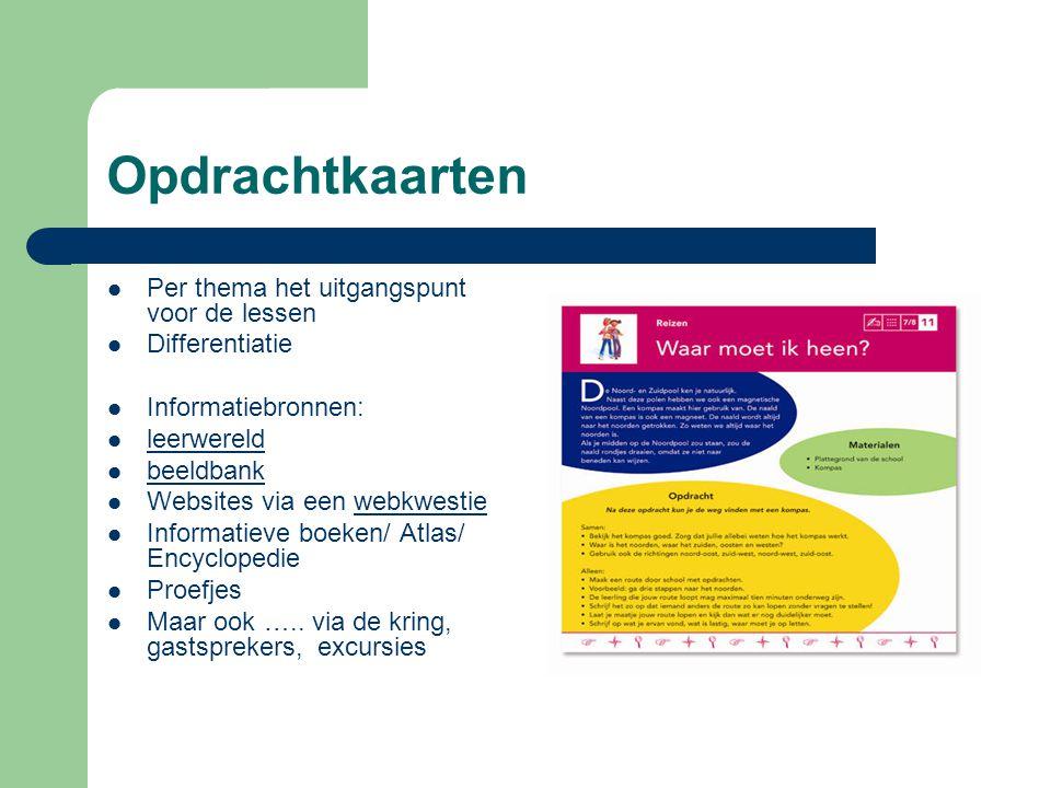 Opdrachtkaarten Per thema het uitgangspunt voor de lessen Differentiatie Informatiebronnen: leerwereld beeldbank Websites via een webkwestiewebkwestie