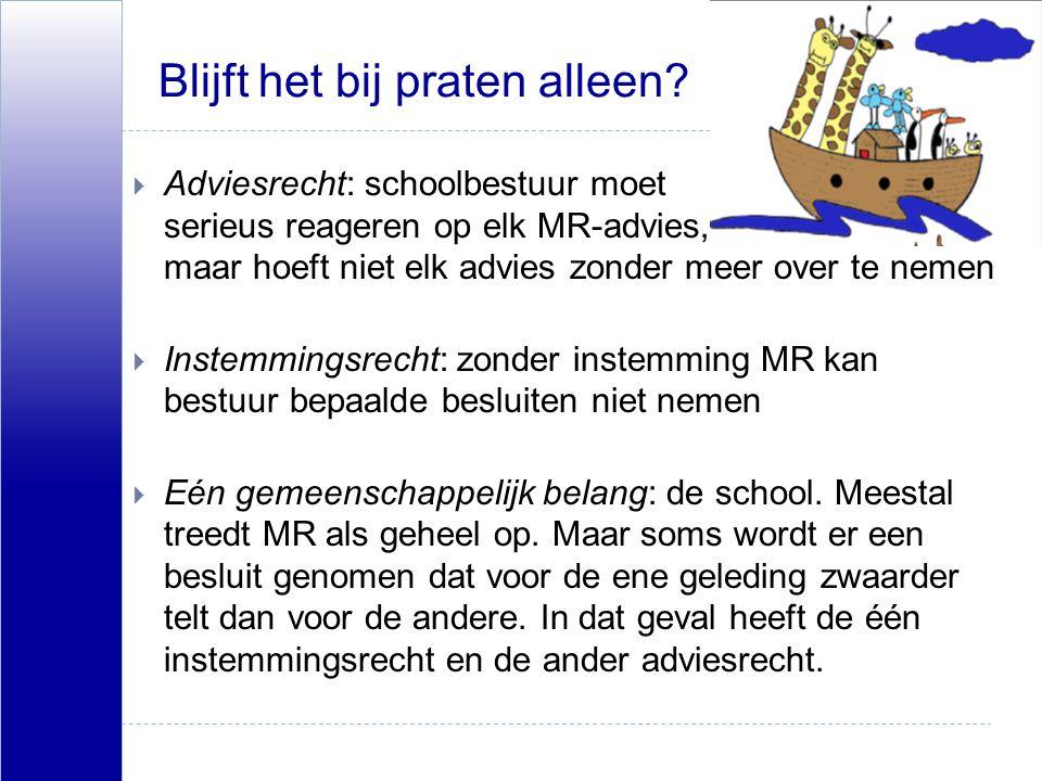 Blijft het bij praten alleen?  Adviesrecht: schoolbestuur moet serieus reageren op elk MR-advies, maar hoeft niet elk advies zonder meer over te neme