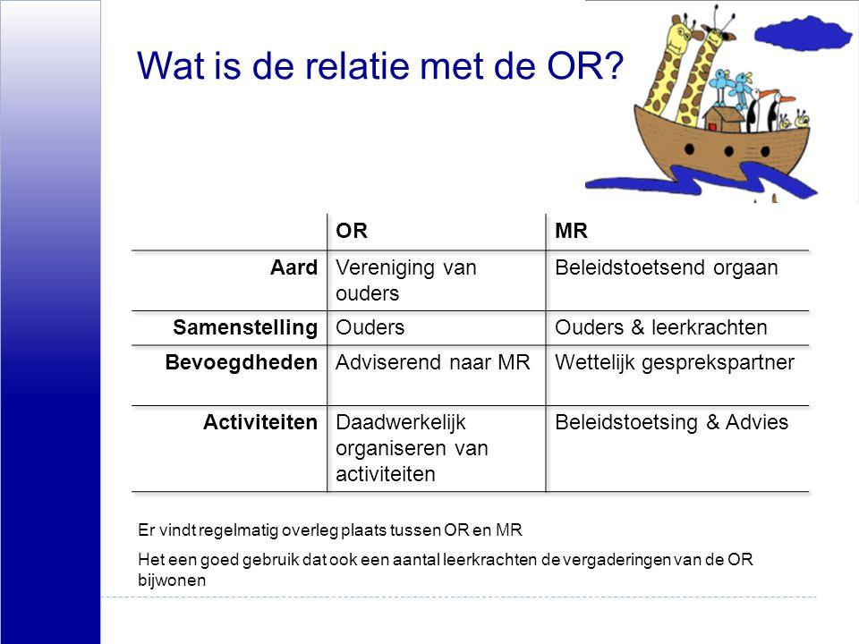 Wat is de relatie met de OR? Er vindt regelmatig overleg plaats tussen OR en MR Het een goed gebruik dat ook een aantal leerkrachten de vergaderingen