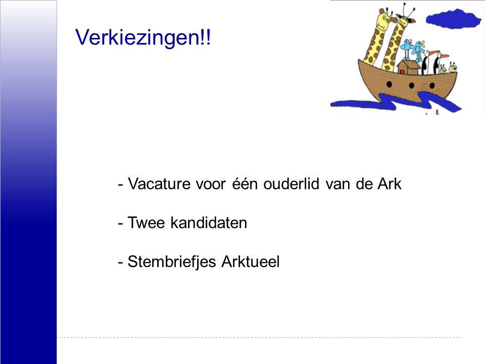 Verkiezingen!! - Vacature voor één ouderlid van de Ark -Twee kandidaten - Stembriefjes Arktueel
