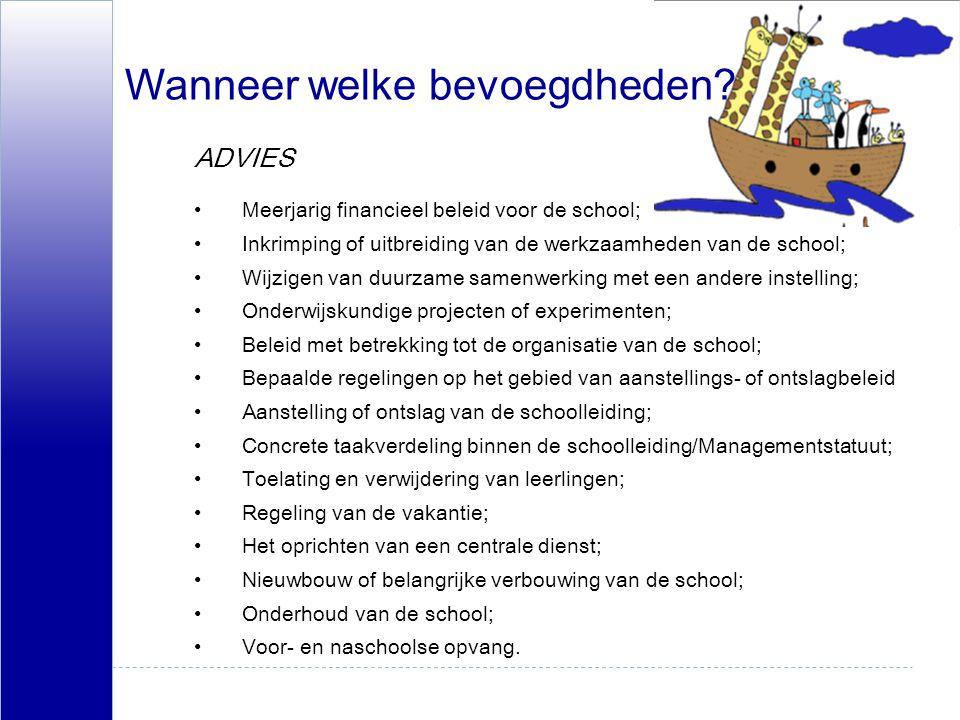 Wanneer welke bevoegdheden? Meerjarig financieel beleid voor de school; Inkrimping of uitbreiding van de werkzaamheden van de school; Wijzigen van duu