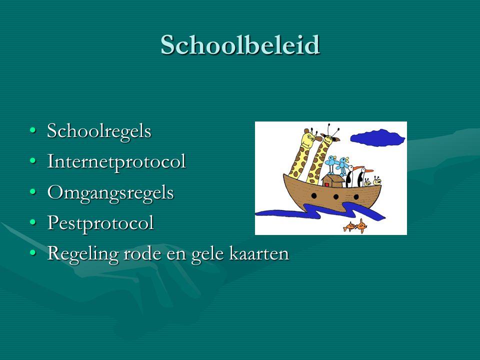 Schoolbeleid SchoolregelsSchoolregels InternetprotocolInternetprotocol OmgangsregelsOmgangsregels PestprotocolPestprotocol Regeling rode en gele kaart