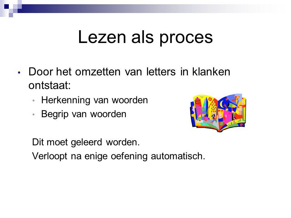 Lezen als proces Door het omzetten van letters in klanken ontstaat: Herkenning van woorden Begrip van woorden Dit moet geleerd worden. Verloopt na eni