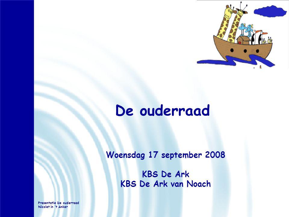 De ouderraad Woensdag 17 september 2008 KBS De Ark KBS De Ark van Noach Presentatie De ouderraad Nicolet in 't Anker