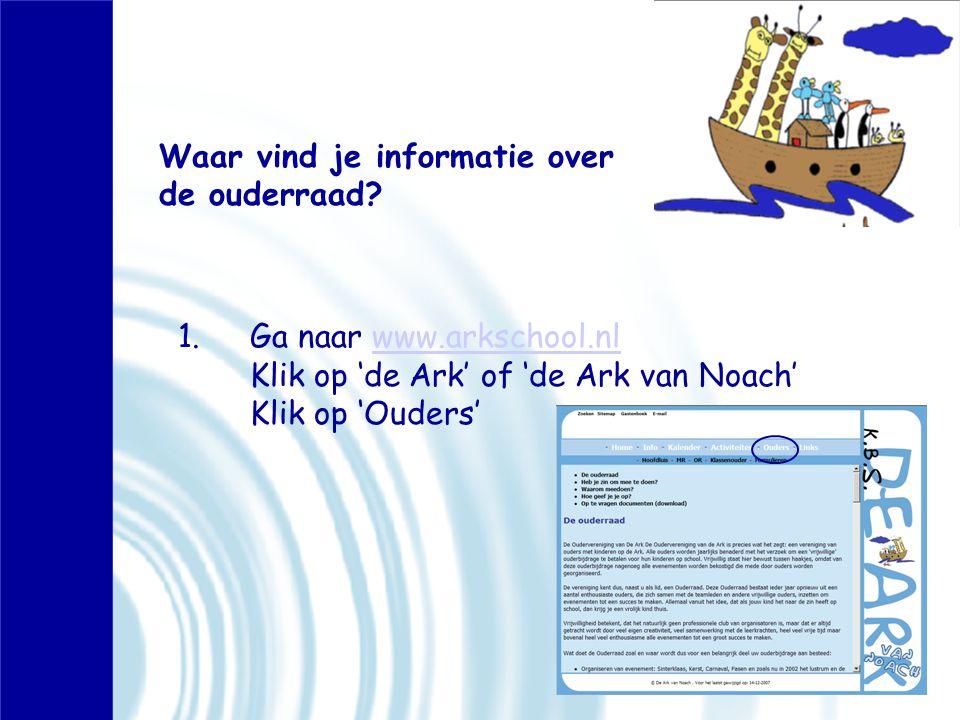 Waar vind je informatie over de ouderraad? 1.Ga naar www.arkschool.nl Klik op 'de Ark' of 'de Ark van Noach' Klik op 'Ouders'www.arkschool.nl