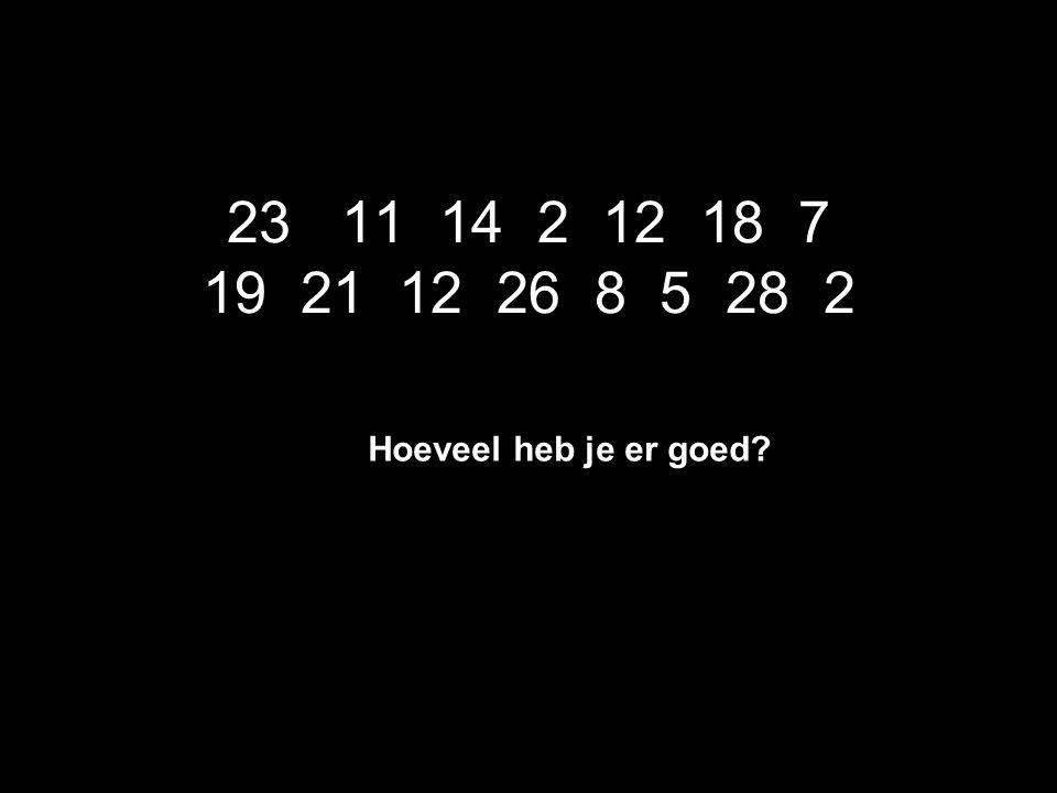 23 11 14 2 12 18 7 19 21 12 26 8 5 28 2 Hoeveel heb je er goed?