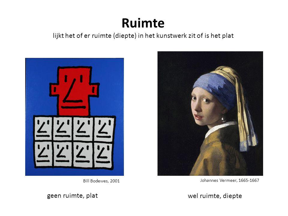 Johannes Vermeer, 1665-1667 Ruimte lijkt het of er ruimte (diepte) in het kunstwerk zit of is het plat geen ruimte, plat wel ruimte, diepte Bill Bodew