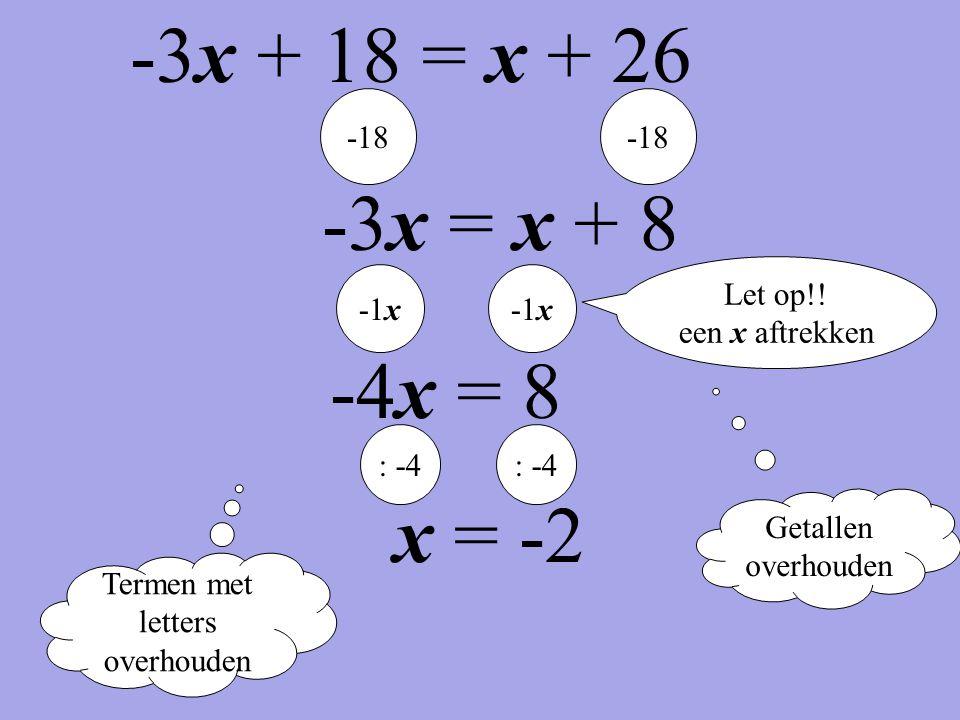 Termen met letters overhouden Getallen overhouden -18 -3x = x + 8 -1x -4x = 8 : -4 x = -2 Let op!! een x aftrekken