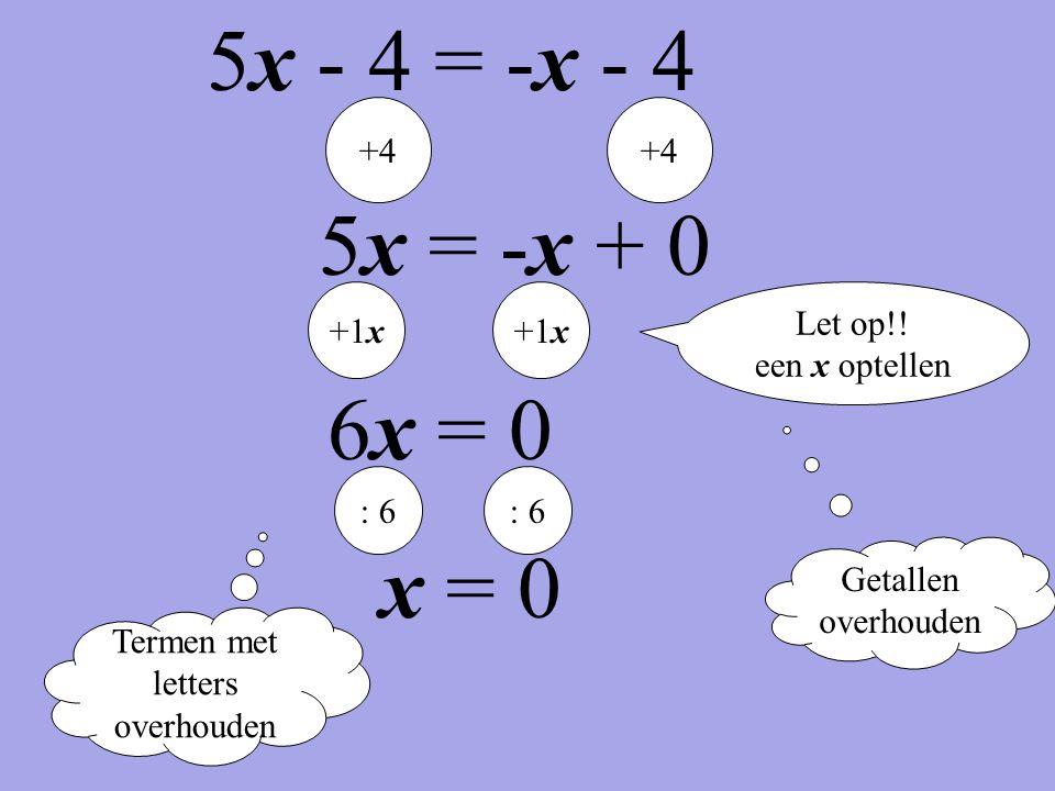 Termen met letters overhouden Getallen overhouden +4 5x = -x + 0 +1x 6x = 0 : 6 x = 0 Let op!! een x optellen