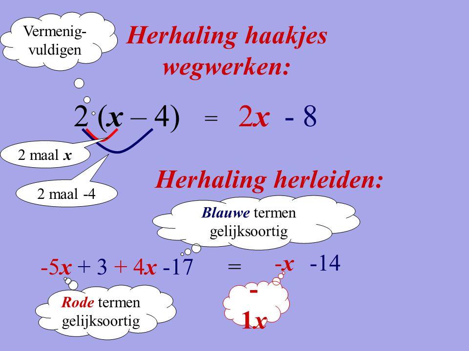 Herhaling haakjes wegwerken: 2 (x – 4) = 2x2x- 8 -5x + 3 + 4x -17 Herhaling herleiden: = -x-x-14 -1x-1x Vermenig- vuldigen 2 maal x 2 maal -4 Rode ter