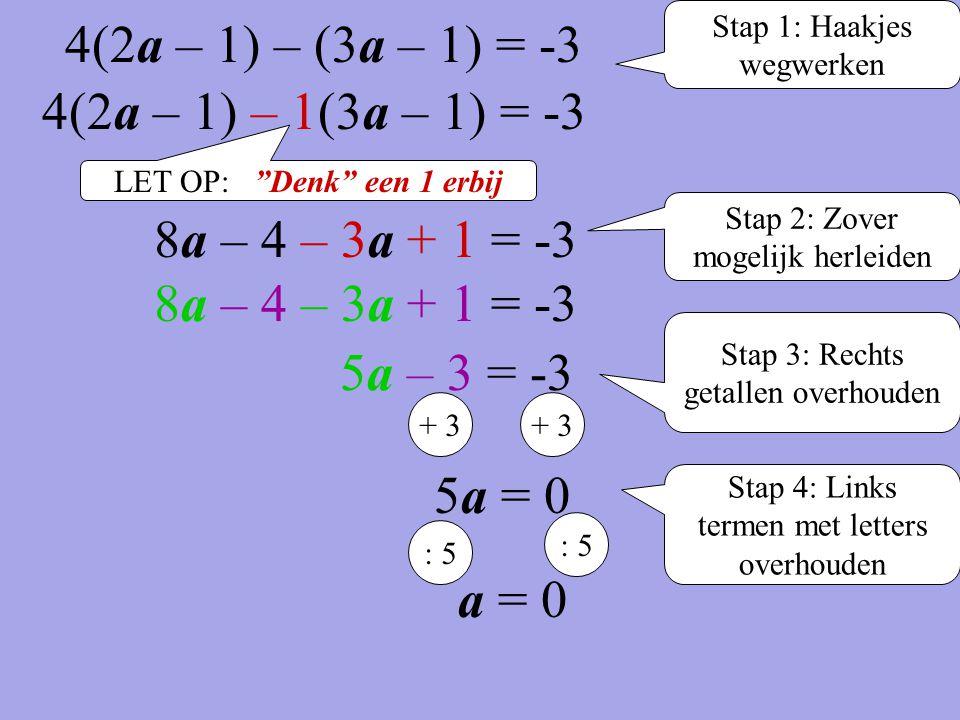 Stap 1: Haakjes wegwerken 4(2a – 1) – 1(3a – 1) = -3 Stap 2: Zover mogelijk herleiden 5a – 3 = -3 Stap 3: Rechts getallen overhouden + 3 5a = 0 + 3 St
