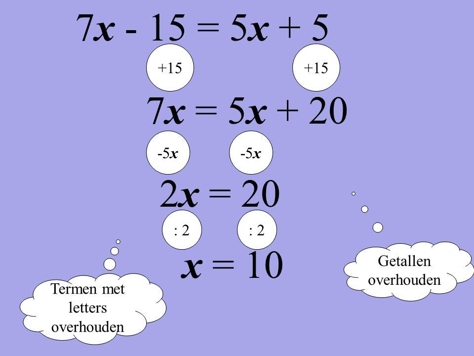 Termen met letters overhouden Getallen overhouden +15 7x = 5x + 20 -5x 2x = 20 : 2 x = 10