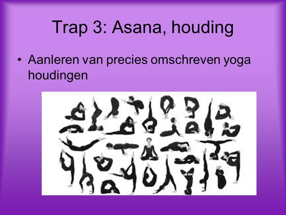 Trap 3: Asana, houding Aanleren van precies omschreven yoga houdingen