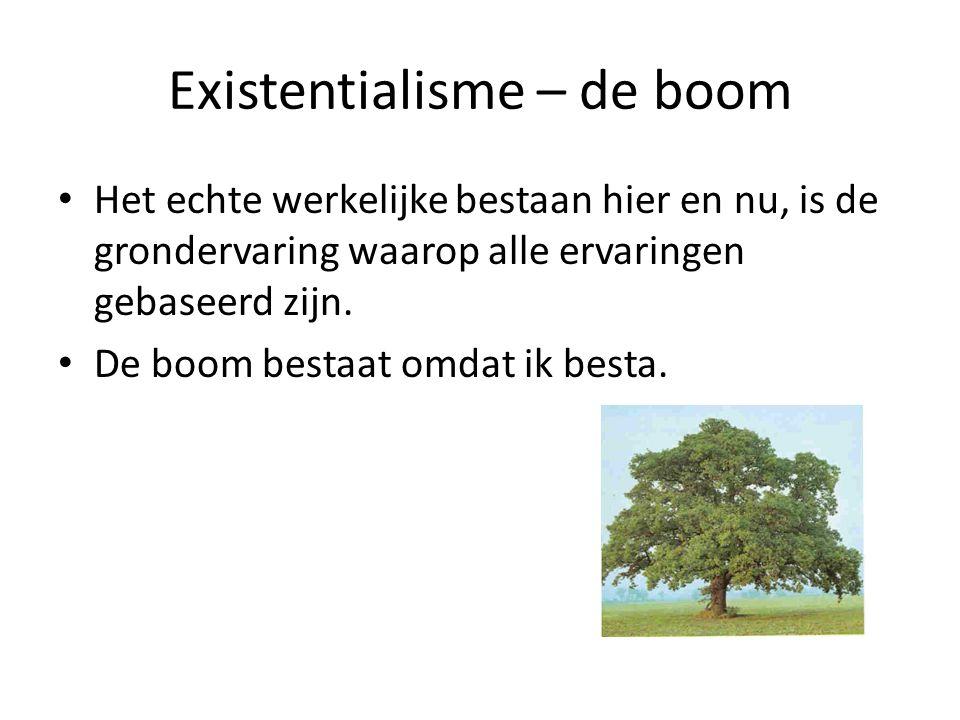 Existentialisme – de boom Het echte werkelijke bestaan hier en nu, is de grondervaring waarop alle ervaringen gebaseerd zijn. De boom bestaat omdat ik