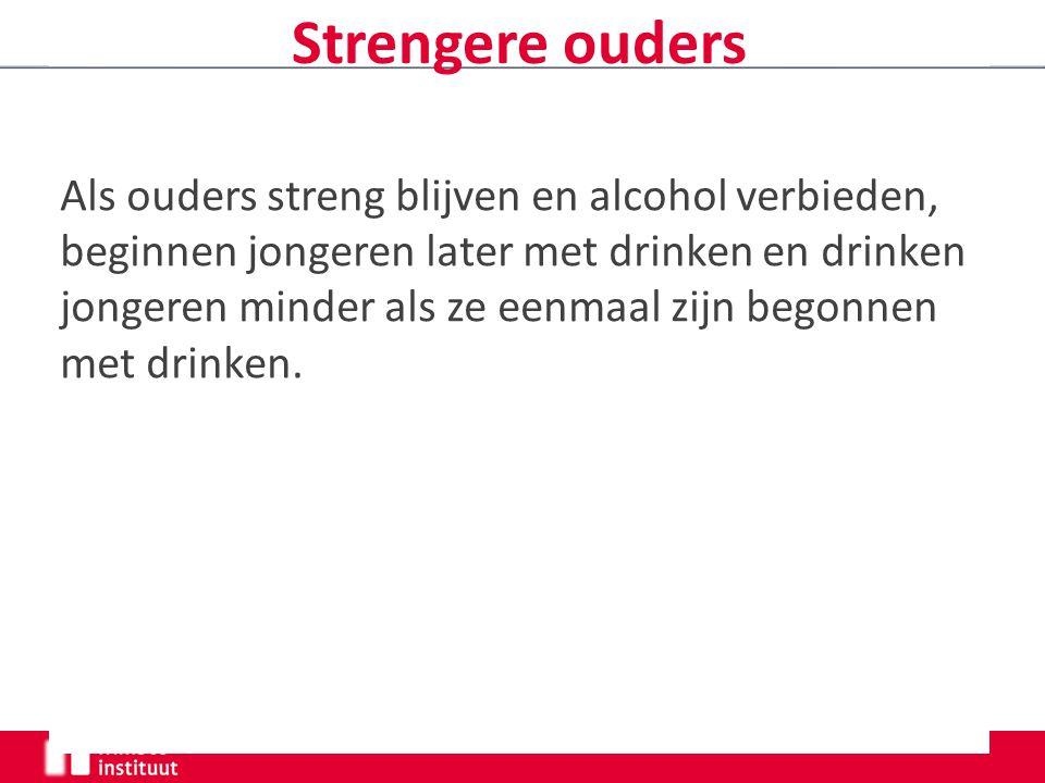 Strengere ouders Als ouders streng blijven en alcohol verbieden, beginnen jongeren later met drinken en drinken jongeren minder als ze eenmaal zijn begonnen met drinken.