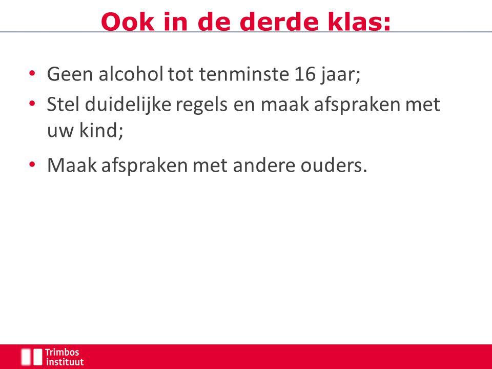Geen alcohol tot tenminste 16 jaar; Stel duidelijke regels en maak afspraken met uw kind; Maak afspraken met andere ouders. Ook in de derde klas: