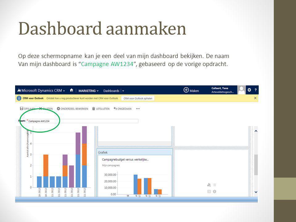 Dashboard aanmaken Op deze schermopname kan je een deel van mijn dashboard bekijken.