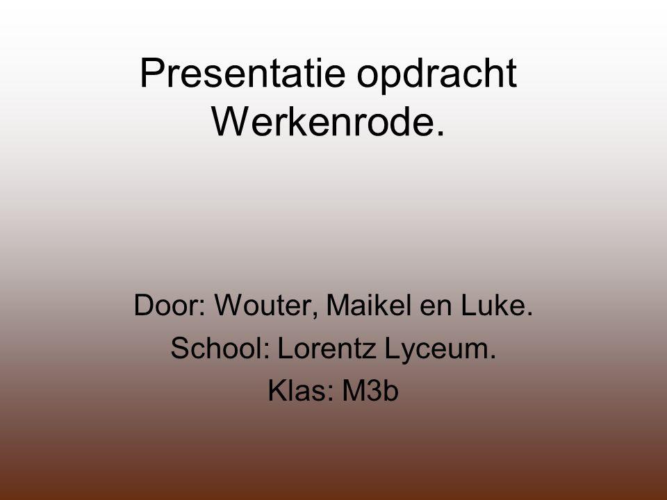 Presentatie opdracht Werkenrode. Door: Wouter, Maikel en Luke. School: Lorentz Lyceum. Klas: M3b