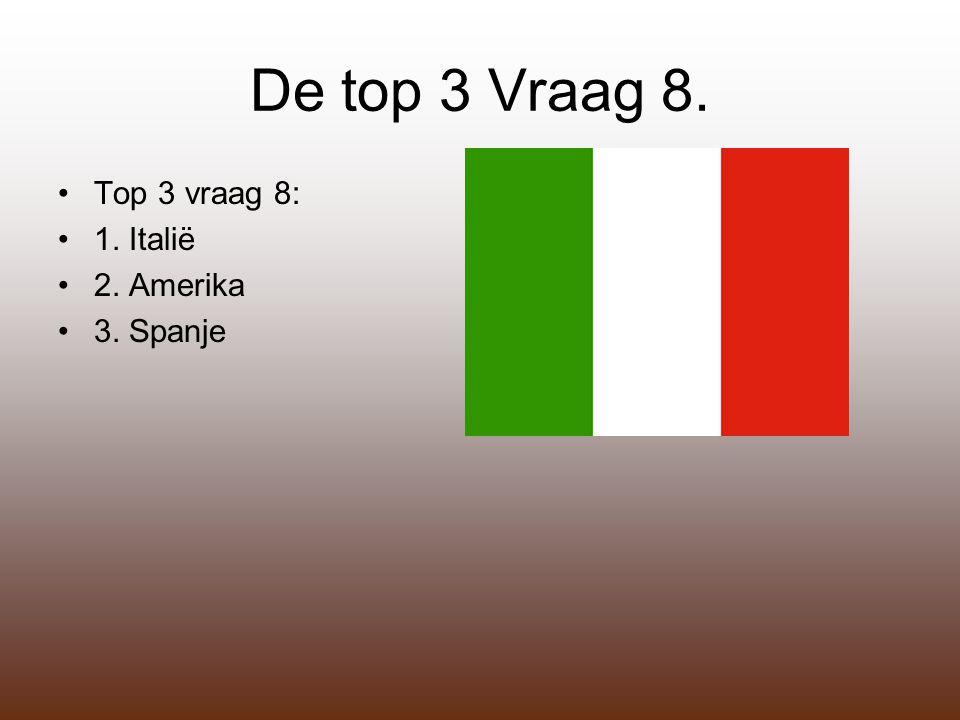 De top 3 Vraag 8. Top 3 vraag 8: 1. Italië 2. Amerika 3. Spanje