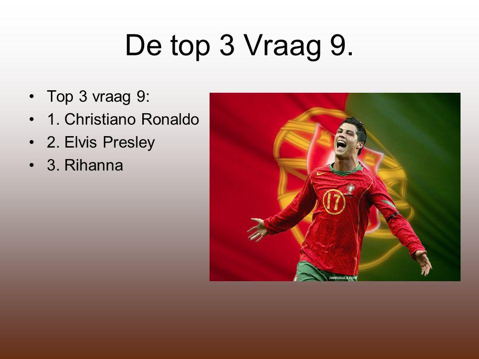 De top 3 Vraag 9. Top 3 vraag 9: 1. Christiano Ronaldo 2. Elvis Presley 3. Rihanna