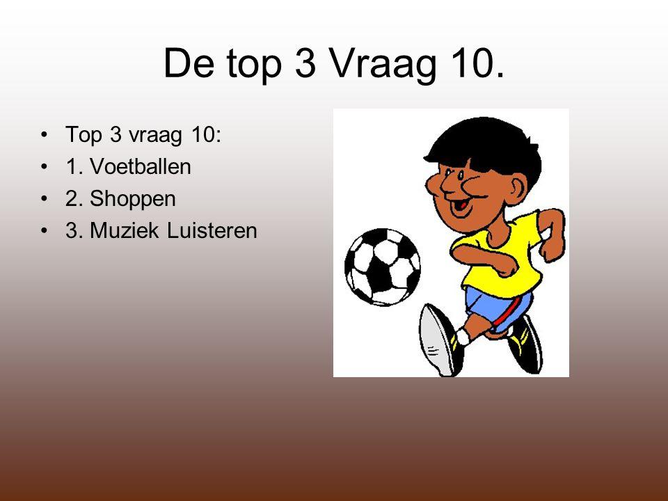 De top 3 Vraag 10. Top 3 vraag 10: 1. Voetballen 2. Shoppen 3. Muziek Luisteren