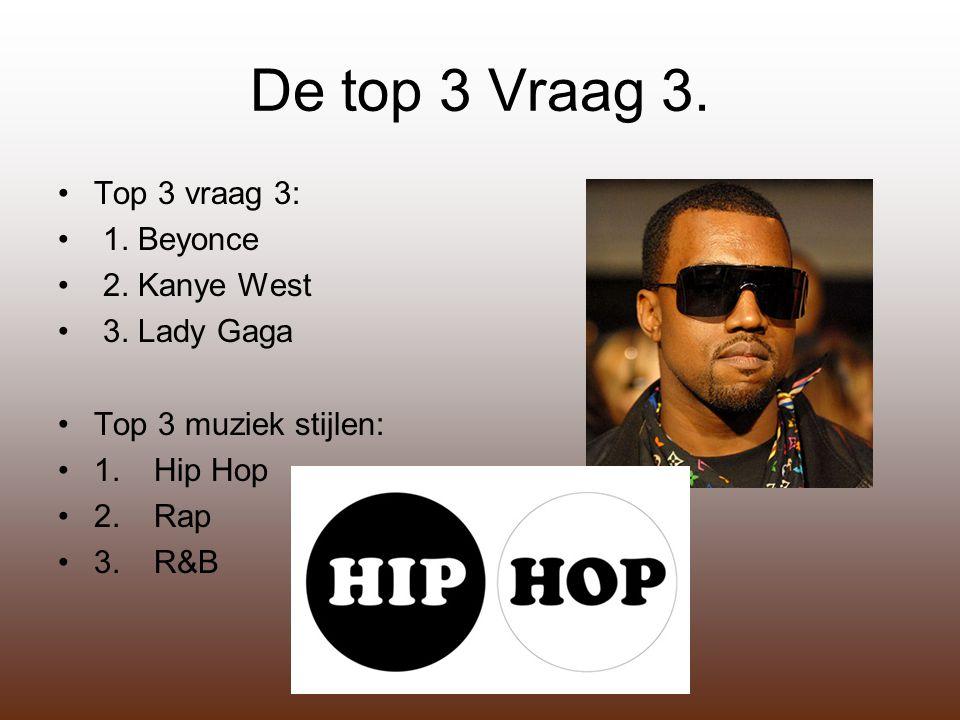 De top 3 Vraag 3. Top 3 vraag 3: 1. Beyonce 2. Kanye West 3.