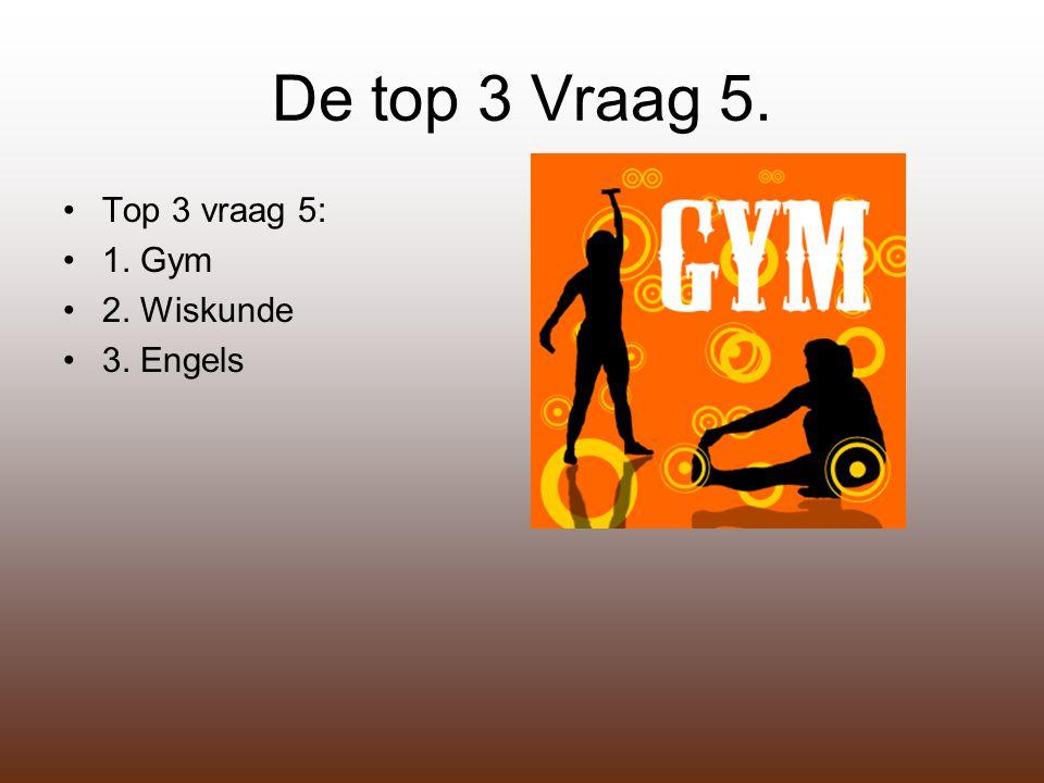 De top 3 Vraag 5. Top 3 vraag 5: 1. Gym 2. Wiskunde 3. Engels