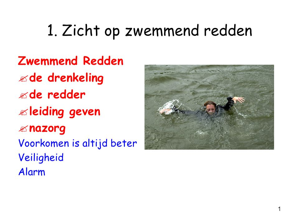 1 1.Zicht op zwemmend redden Zwemmend Redden . de drenkeling .