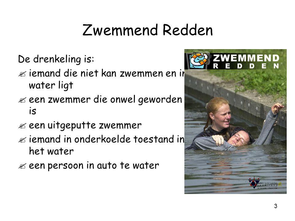 3 Zwemmend Redden De drenkeling is: .iemand die niet kan zwemmen en in water ligt .