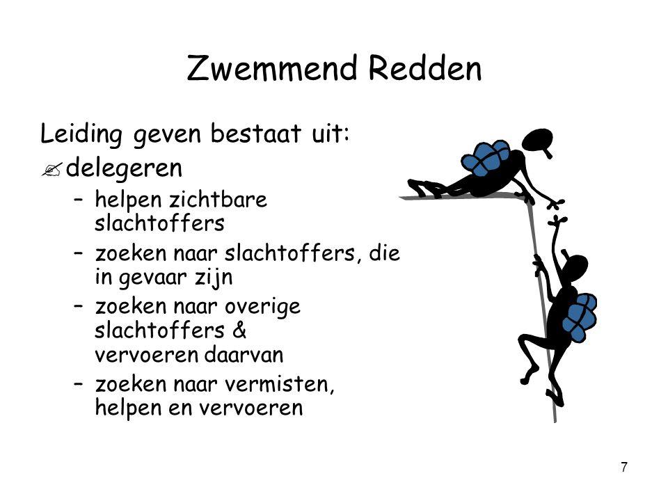 7 Zwemmend Redden Leiding geven bestaat uit: .