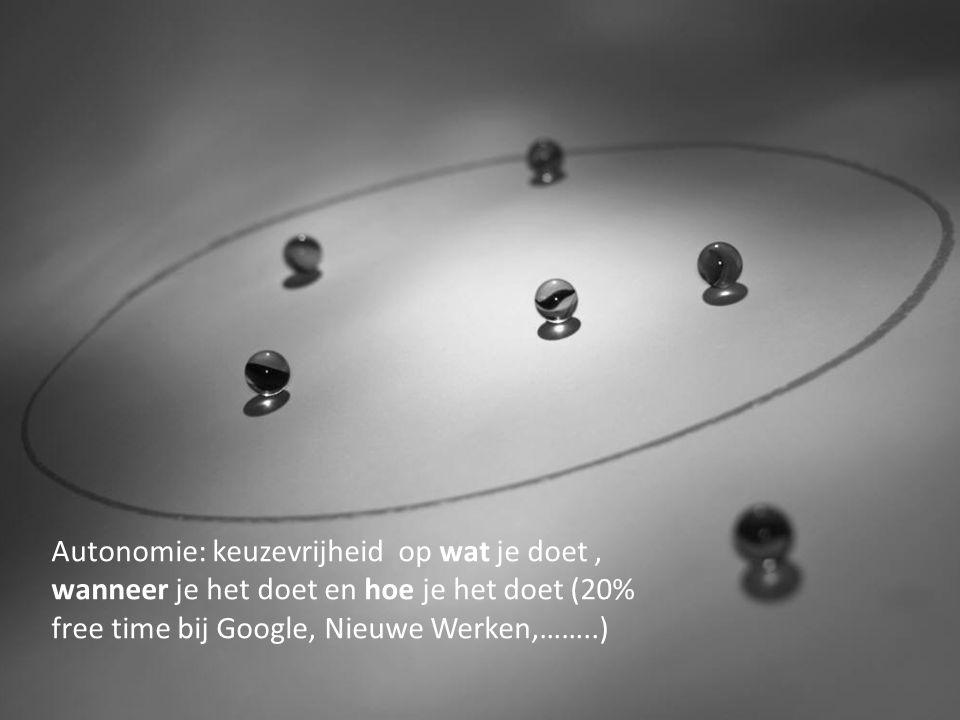 Autonomie: keuzevrijheid op wat je doet, wanneer je het doet en hoe je het doet (20% free time bij Google, Nieuwe Werken,……..)