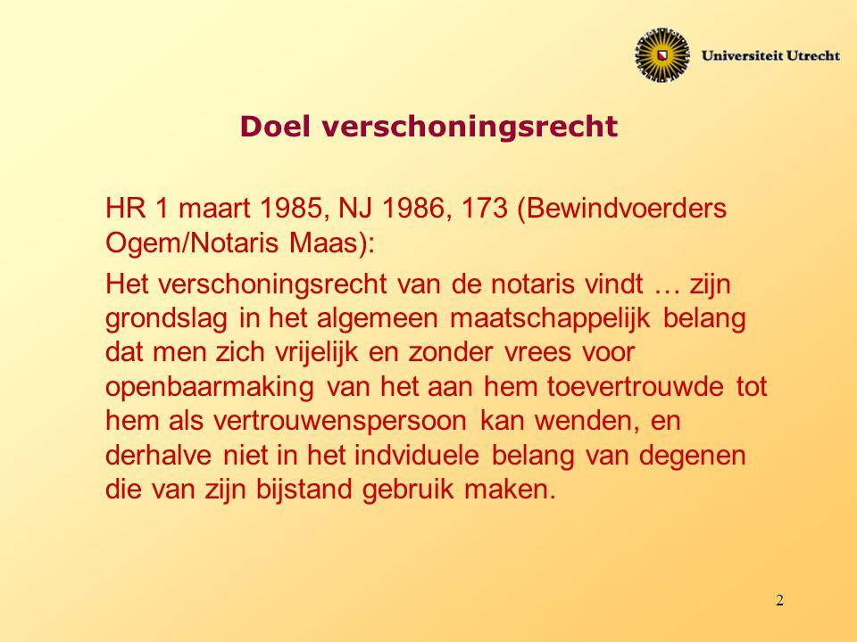 2 Doel verschoningsrecht HR 1 maart 1985, NJ 1986, 173 (Bewindvoerders Ogem/Notaris Maas): Het verschoningsrecht van de notaris vindt … zijn grondslag