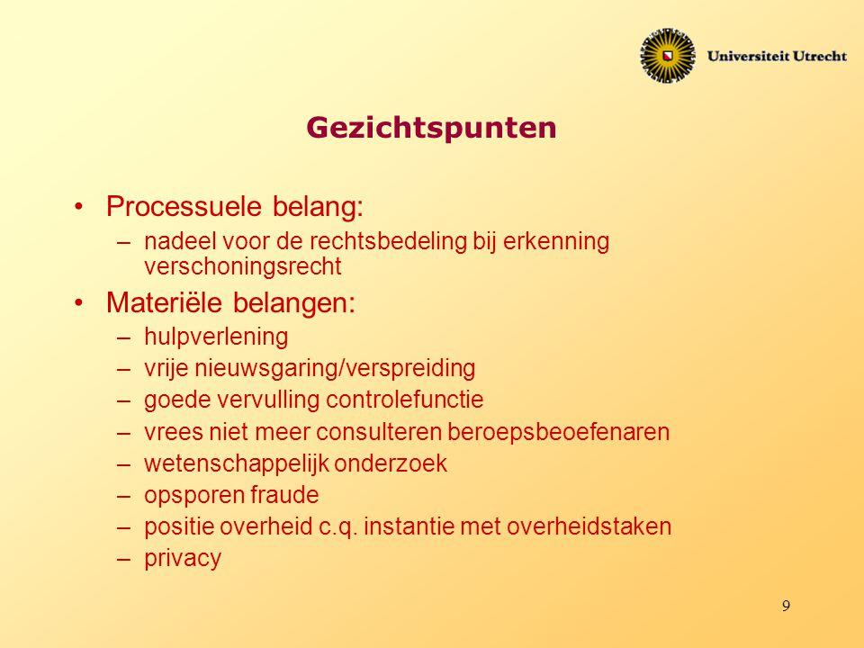 9 Gezichtspunten Processuele belang: –nadeel voor de rechtsbedeling bij erkenning verschoningsrecht Materiële belangen: –hulpverlening –vrije nieuwsga