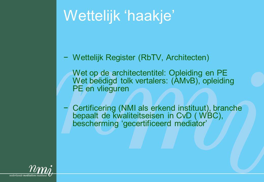 Wettelijk 'haakje' −Wettelijk Register (RbTV, Architecten) Wet op de architectentitel: Opleiding en PE Wet beëdigd tolk vertalers: (AMvB), opleiding P