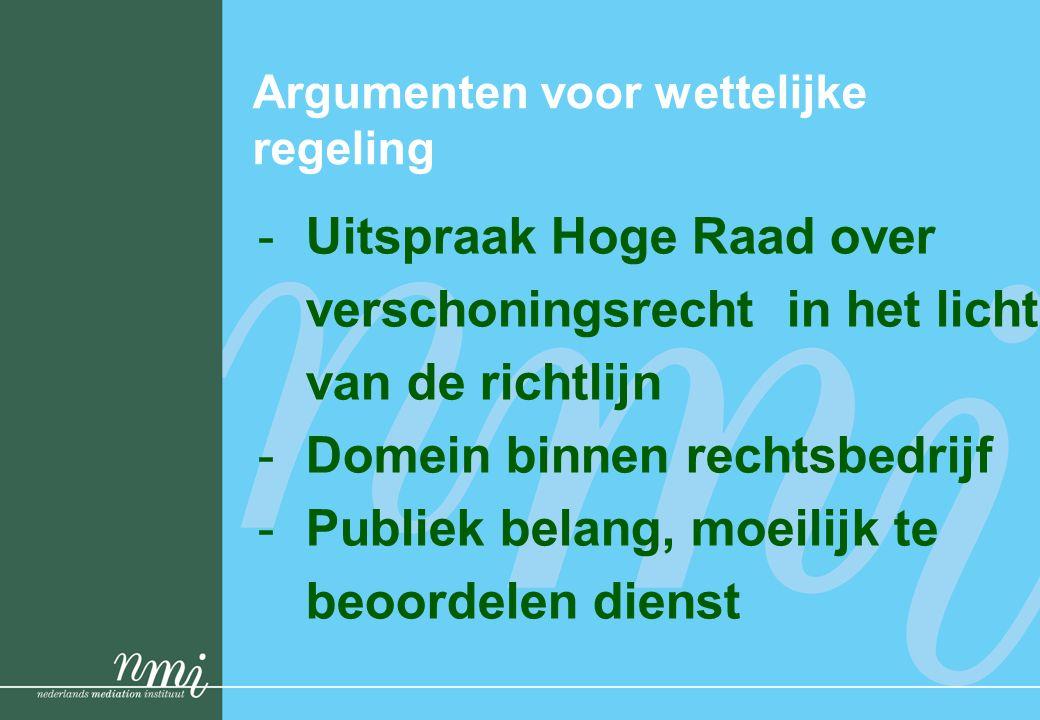 Argumenten voor wettelijke regeling -Uitspraak Hoge Raad over verschoningsrecht in het licht van de richtlijn -Domein binnen rechtsbedrijf -Publiek be