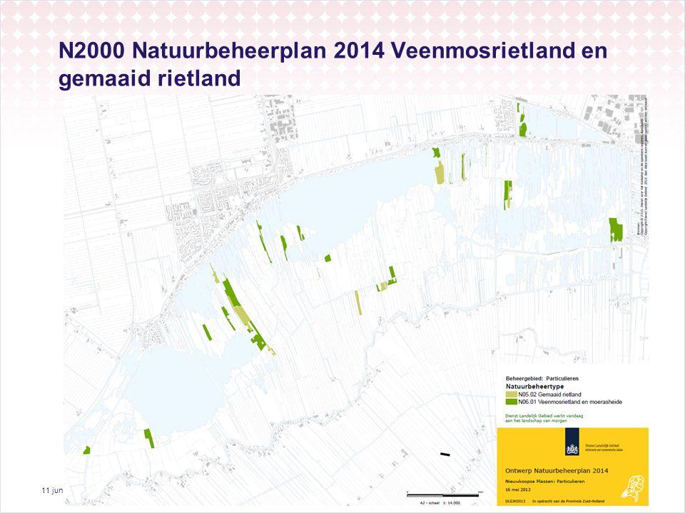 11 juni 2013 15 N2000 Natuurbeheerplan 2014 Veenmosrietland en gemaaid rietland