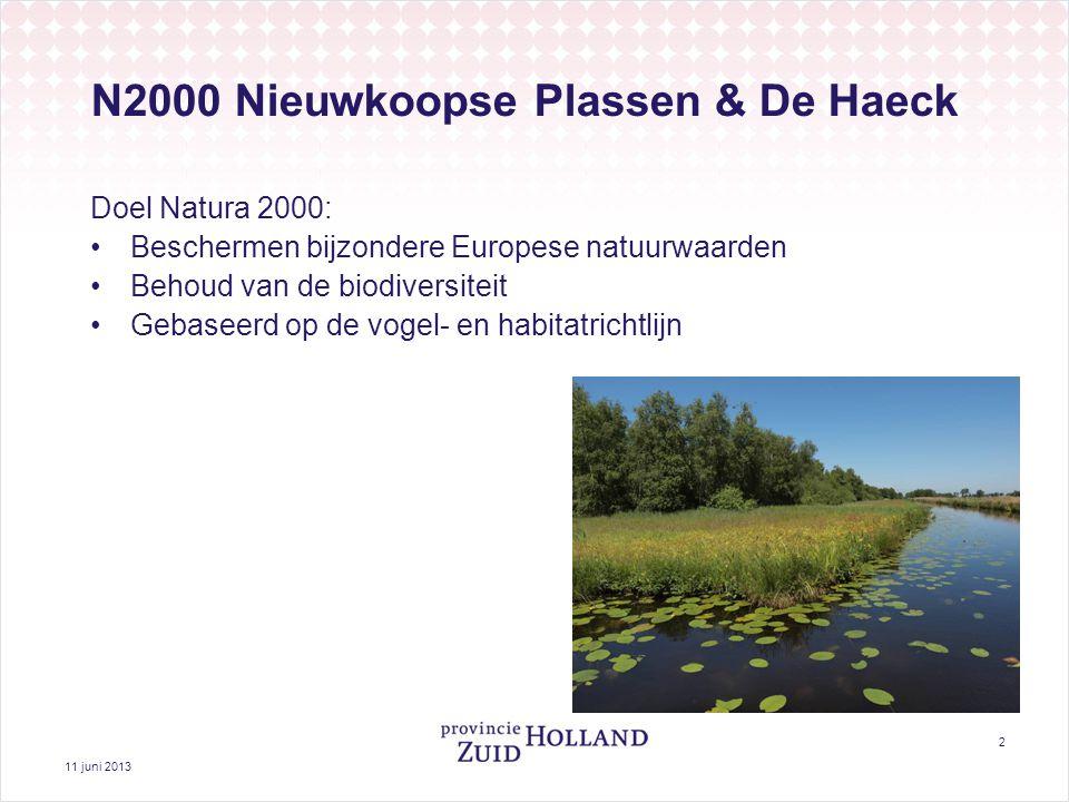 11 juni 2013 2 N2000 Nieuwkoopse Plassen & De Haeck Doel Natura 2000: Beschermen bijzondere Europese natuurwaarden Behoud van de biodiversiteit Gebaseerd op de vogel- en habitatrichtlijn