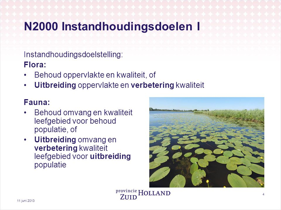 11 juni 2013 4 N2000 Instandhoudingsdoelen I Instandhoudingsdoelstelling: Flora: Behoud oppervlakte en kwaliteit, of Uitbreiding oppervlakte en verbet
