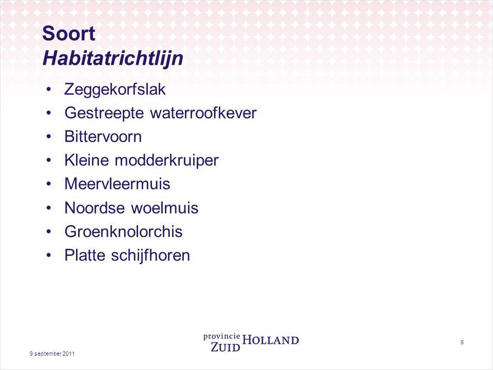 Vogelrichtlijn: broedvogels Roerdomp Purperreiger Zwartkopmeeuw Zwarte stern Snor Rietzanger 9 september 2011 7 Grote zilverreiger Kolgans Smient Krakeend Vogelrichtlijn: niet broedvogels