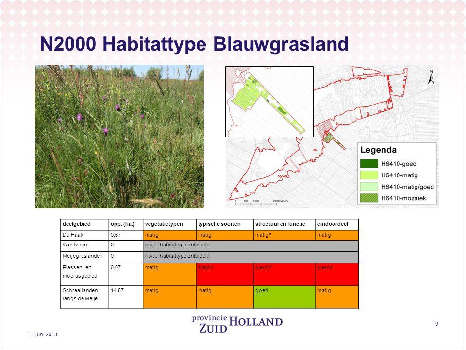 11 juni 2013 9 N2000 Habitattype Blauwgrasland deelgebiedopp. (ha.)vegetatietypentypische soortenstructuur en functieeindoordeel De Haak0,67matig mati