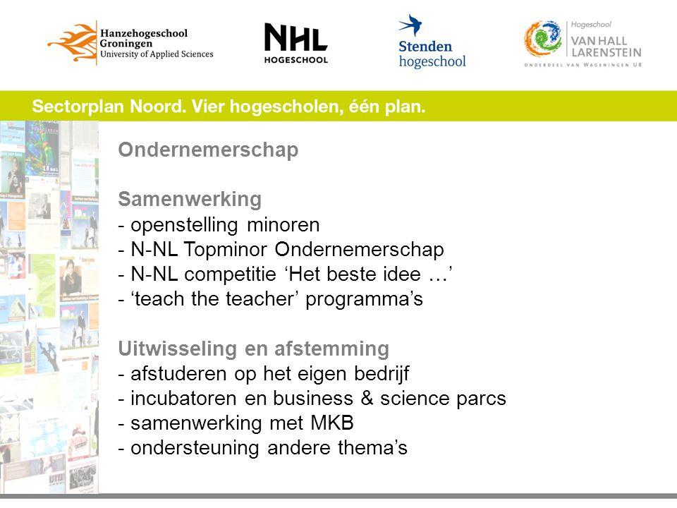 Ondernemerschap Samenwerking - openstelling minoren - N-NL Topminor Ondernemerschap - N-NL competitie 'Het beste idee …' - 'teach the teacher' programma's Uitwisseling en afstemming - afstuderen op het eigen bedrijf - incubatoren en business & science parcs - samenwerking met MKB - ondersteuning andere thema's