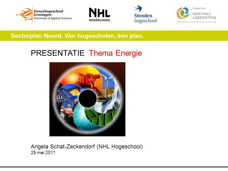 PRESENTATIE Thema Energie Angela Schat-Zeckendorf (NHL Hogeschool) 25 mei 2011
