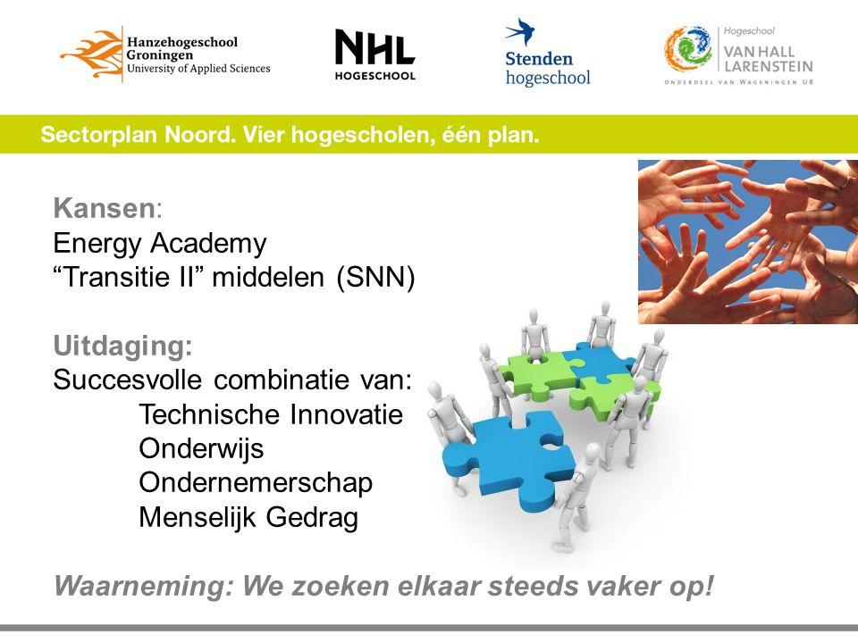 """Kansen: Energy Academy """"Transitie II"""" middelen (SNN) Uitdaging: Succesvolle combinatie van: Technische Innovatie Onderwijs Ondernemerschap Menselijk G"""